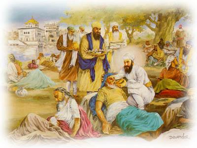 Guru Arjan Serving the Lepers at Tarn Taran